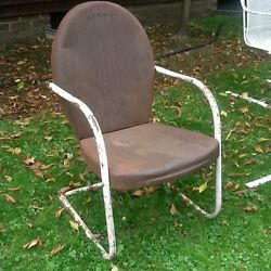 Vintage Metal Retro Lawn Chair - Rusty Surface Patina - Structurally Very Good