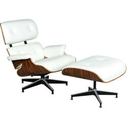 Classic Plywood Lounge Chair And Ottoman Eames Style Mid Century Wood Seat White