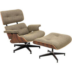 Classic Plywood Lounge Chair And Ottoman Eames Style Mid Century Wood Seat Gray