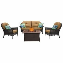 4-Piece Fire Pit Lounge Set in Country Cork-wood grain tile top