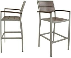Home Outdoor Furniture Surf City Textured Silver 2Pcs Patio Bar Chair Set New