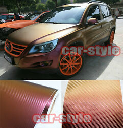98FT x 5FT  1 Roll  Car Wrap 3D Chameleon Carbon Fiber Vinyl Sheet Gold Purple