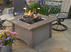 GreatRoom Pine Ridge Square Fire Pit Table Patio Flame Stained Cedar Wood Top