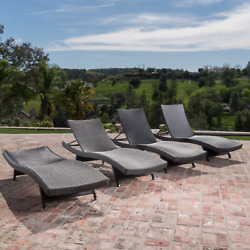 Chaise Outdoor Lounge Chairs Set of 4 Poolside Furniture Decor Decorations Large