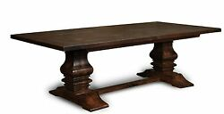 Amish Plank Farmhouse Trestle Dining Table Rustic Country Estate Solid Wood 2