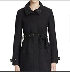 NWOT Burberry London England Wool Cashmere Black Womens Trench Coat Size 14