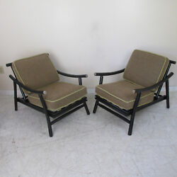 Pair Painted Rattan Lounge Chairs in the Style of Ficks Reed