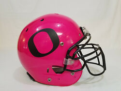 2013 Oregon DUCKS Football TEAM ISSUED Riddell PINK Cancer Awareness HELMET