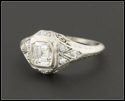 Vintage Antique Art Deco 0.80ct Diamond Platinum Engagement Wedding Ring Emerald
