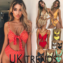 UK Womens Summer Beach Bikini Set Ladies 2 PCS Holiday Swimwear High Swimsuit GBP 5.99