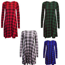 New Women Ladies Summer Swing Tartan Check Sleeve Dress Fancy Dress Top