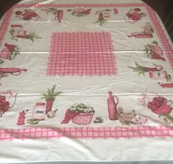VINTAGE 50#x27;s RAYON TABLECLOTH KITCHEN THEME JAM GLASS SUGAR CLOVES EEC pink red $39.99