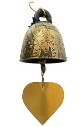 Bronze Temple Bell Wind Chime Thailand Pattern Decor for Home And Garden.