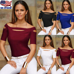 Sexy Womens Cut out Off Shoulder T shirt Tops Blouse Short Sleeve Slim Party Tee $8.99