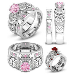 Women's White Gold Plated Cubic Zirconia Heart Engagement Wedding Ring Set