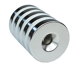 5 Pack Thicker Strong Countersunk Ring Magnets 1 Inch Large Rare Earth Neodymium $11.99