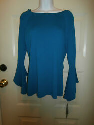 NEW NWT MACYS INC TOP LARGE TEAL BOHEMIAN SLEEVE STRETCH ANNA SUI COLLECTION $79 $14.99