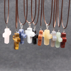 Cross Natural Stone Quartz Charms Pendant Necklace WomenMen Jewelry Choker Gift