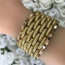 Vintage 18k Gold Bracelet  Solid  Woven Textured Design Heavy