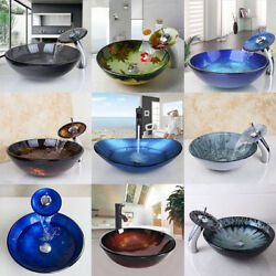 US Countertop Tempered Glass RoundOval Basin Bowl Vessel Sinks Vanity Faucet $76.00