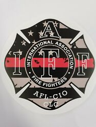 4quot; IAFF Decal Thin Red Line Exterior Mount READ AUCTION