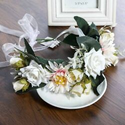 Women's Bridal Large Headband Flower Crown Floral Hairband Garland Party Wedding