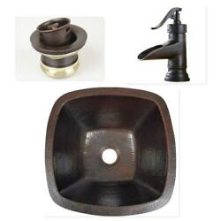 15quot; Square Copper Bar Prep Sink with 2quot; Mini Strainer Drain and ORB Faucet $249.95
