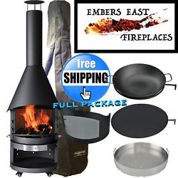 Mercatus BBQ Grill Outdoor Fireplace Chiminea Fire Pit Wood Burning Black Steel