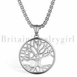 Luck Tree Of Life Pendant Charms Stainless Steel Necklaces For Men Women Girls