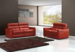VIG Estro Salotti Levante Red Genuine Leather Sofa Set 3 Pcs SPECIAL ORDER