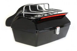 Universal Black Motorcycle Tour Pack Trunk Luggage Tail Box Pack W Tail Light $85.50
