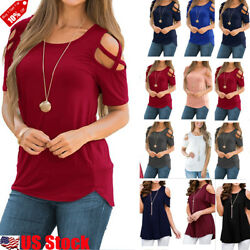 Plus Size Womens Summer Cold Shoulder Tee Top Short Sleeve Blouse Casual T Shirt $14.29
