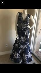 Terani couture evening party formal wedding multi color v neck dress size16 18 $198.00