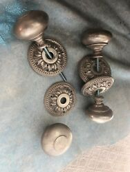 Authentic French Door knobs in Silver Leaf - 2 pairs.  5wx5lx4h.  5+ lbs each.