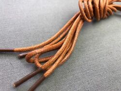 Light Brown Dress Shoe Shoelaces Round Waxed Cotton 45 Inch 6 Eyelet Lace String
