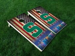 VINYL WRAPS Cornhole Board DECALS Michigan State Spartans 07 MSU Bag Game Toss