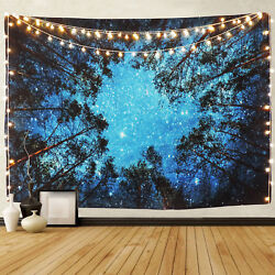 US SHIP Psychedelic Forest Tree Stars Starry Sky Wall Hanging Tapestry Decor $16.14