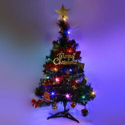 2 FT Tabletop Artificial Small Mini Christmas Tree with LED Light amp; Ornaments $12.99