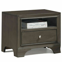 Vintage Nightstand Solid Wood Sofa Side End Table W USB Port amp; Drawer Grey $89.99