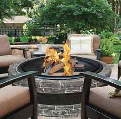 Fire Pit Outdoor Fireplace Wood Burning Kits Cast Stone Large Bowl Cover Patio