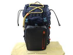Auth Louis Vuitton Damier Challenge Backpack Navy Blue Damier CanvasEpi 94721