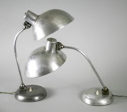 PAIR  of ART DECO INDUSTRIAL DESK LAMP CHRISTIAN DELL KAISER BAHAUS