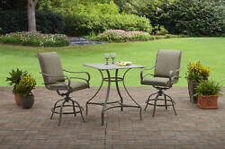 3 Piece Neutral Cushion High Bistro Patio Set Outdoor Home Furniture Garden Deck