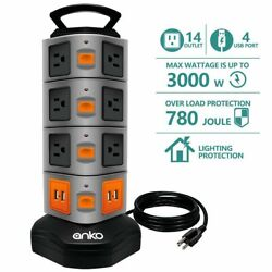 14 Outlet Power Strip 4 USB Charging Ports 3000W Surge Protector 6 FT Cord Wire $29.99