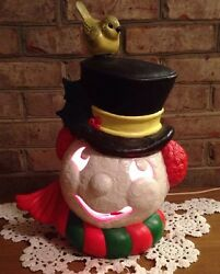 Vintage Ceramic Lighted Frosty The Snowman With Ear MuffsTop Hat