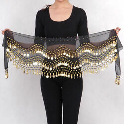 3 Rows Gold Coins Belt Belly Dance Costume Black Hip Scarf Dancing Skirt Wrap $5.98