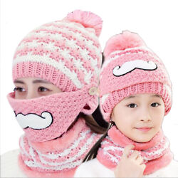 Cold-resistant Winter cashmere knit hat face mask woolen knitted cap lady child