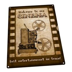 Welcome to Our Cinema Metal Sign; Wall Decor for Home Theater or Family Room $19.99
