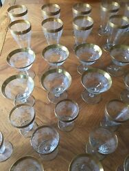 Tiffin Antique Stemware 48 pieces Rarely Found Etched & Gold Encrusted (Full Set