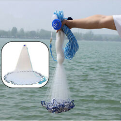 Quick Throw Cast Net Monofilament Fishing Live Bait Net With Sinkers $34.90